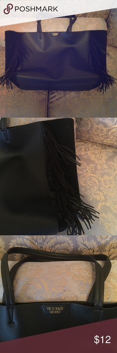 Huge Victoria's Secret black fringed leather tote Huge VS black fringed leather tote bag. Used once! Perfect for beach or work! Pet/smoke free environment Victoria's Secret Bags Totes