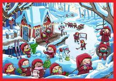 Adventtikalenteri_2016_Noora-Katto Advent Calendars, Gnomes, Minecraft, Writing, Reading, School, Xmas Cards, Advent Calenders, Reading Books