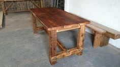 rustic style dining table and two benches any size...quality reclaimed timber ...solid wood..dining table by RusticLivingdesign on Etsy https://www.etsy.com/uk/listing/504562095/rustic-style-dining-table-and-two