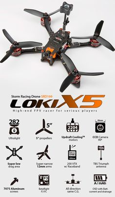 "Limited Time Offer -  The SRD199 Loki-X5 has FREE UPGRADE  to the ultra light weight Storm Spear M2205-2350kv .    Completely new design, full of innovations, meet the new weapon for top level FPV racing Storm SRD199 ""Lok"