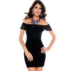 jowiha® Sexy Mini Stretch Kleid Schulterfrei mit Spitze