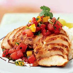 Sesame-Chile Chicken With Gingered Watermelon Salsa - only 247 calories! | http://www.health.com/health/gallery/0,,20386689_9,00.html