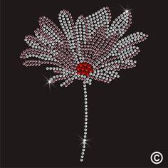 Flower Rhinestone Diamante Transfer Iron On Hotfix Crystal T Shirt Motif Patch