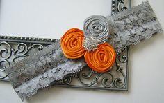 Wedding Garter Gray Lace Garter Orange & Gray Rosette Trio Crystal Embellished Keepsake Bridal Garter