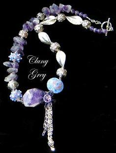 amethyst necklace - http://www.clunygreyjewelry.com/amethyst-earrings.html