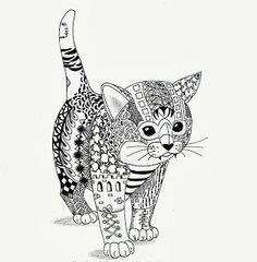 Zentangle Coloring Pages Cat