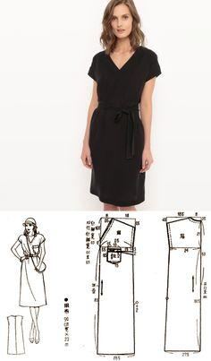 Шитье | простые выкройки | простые вещи.Цельнокроеное платье прямого силуэта с V-образным вырезом горловины. Выкройка на размер 42/44 (рос.).