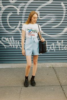 CAVES COLLECT wrap shorts in powder blue linen.