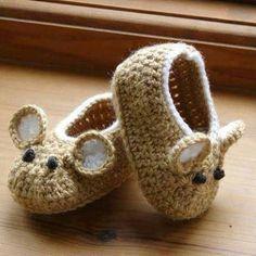 fare şeklinde örgü bebek patiği modelleri