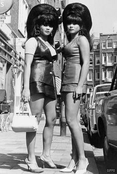1968 - Amsterdam. I think these two have reached the pinnacle of big 60s hair.