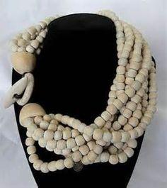 10 Strand Designer Wood/Bone Bead Necklace