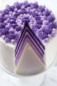 Ombre purple cake - love the magical layers hidden behind the frosting