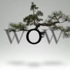 A motion graphics installation featuring plants and typography by the company WOW.