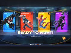 Ready Up screen for Disney Infinity Marvel Playset Game Gui, Game Icon, Cartoon Network Adventure Time, Adventure Time Anime, Game Card Design, Card Ui, Crazy Wallpaper, Disney Marvel, Disney Pixar