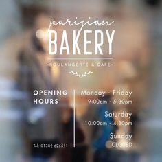A professional looking business hours sign, complete with stylish business name above. Many Hours of operation signs available. Bakery Shop Design, Coffee Shop Design, Cafe Design, Sign Design, Business Hours Sign, Business Signs, Business Names, Opening Hours Sign, Cafe Quotes
