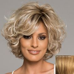 $45.59 Stylish Short Haircut Ladylike Side Bang Bouffant Curly Capless Real Human Hair Wig For Women