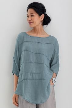 Campo Top by Cynthia Ashby . We love Ashby's masterful ability to transform everyday pieces into intriguing statements—like this superb top. Its wear-everywhere shape is enlivened by tuck details that meander across the front and back.