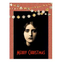 Freaky Christmas With Glitter Gold Red Stripes Postcard - merry christmas postcards postal family xmas card holidays diy personalize