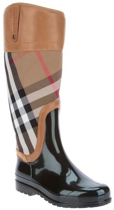 BURBERRY Checked Midcalf Boot. Spring is coming...April showers bring May flowers.