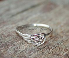 Angel wing ring 1  Sterling silver Angels by ArmoredJewelry, $30.00