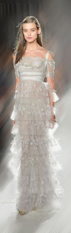 Marchesa ~ Beautiful grey, tiered gown with lots of lace!  Gorgeously ethereal!