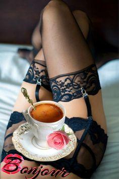 Sexy Coffee, Coffee Girl, Coffee Love, Coffee Break, Good Morning Coffee, Good Morning Love, Good Morning Friends, Coffee Music, Garters And Stockings