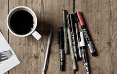 coffee + pens
