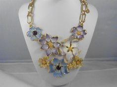 Runway Kenneth Jay Lane Blue and Purple Enamel  Necklace & Bracelet Set KJL #KennethJayLane #Pendant