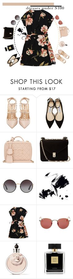 """Under $100: Summer Dresses"" by soranamikaze ❤ liked on Polyvore featuring Valentino, Jimmy Choo, Chanel, Dolce&Gabbana, Marmont Hill, Ray-Ban and Avon"