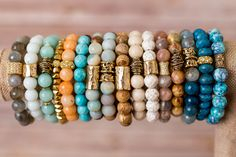 Simple Gemstone Stretch Bracelets