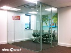 Single Glazed Glass Corner Office with a framed door and standard DDA film manifestation Glass Office Partitions, Glass Partition, Breakout Area, Glazed Glass, Pivot Doors, Fire Doors, Door Sets, Window Film, Types Of Doors