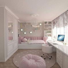 Super Creative cute bedroom ideas for young adults just on popi home design home design Teen Bedroom Ideas That Are Fun as well as Cool Pink Bedroom Design, Bedroom Decor For Teen Girls, Cute Bedroom Ideas, Small Bedroom Designs, Teen Room Decor, Teen Girl Bedrooms, Teen Bedroom, Room Decor Bedroom, Modern Bedroom