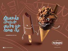 Postagens para a fanpage da Ice Creamy, marca especializada em sorvete artesanal