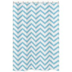 Add a touch of style and a splash of color to your bathroom with the Sweet Jojo Designs chevron shower curtain in a  turquoise and white finish. This brushed microfiber curtain is machine washable for repeated use and convenience.