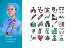 Hospital Icons Pack by Artera Studio on Envato Elements, Design Elements, Hospital Icon, Color Lines, Icon Pack, School Design, Icon Set, Design Bundles, Trapper Keeper