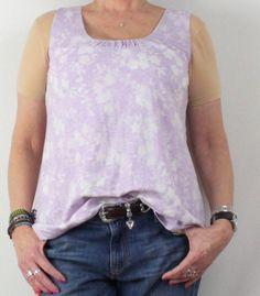 Cute J Jill M Petite MP size Tank Top Purple Ivory Lined Burnout Floral Cotton Blend
