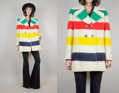 HUDSON BAY vtg 70's Wool rainbow Stripe Four POINT blanket Peacoat