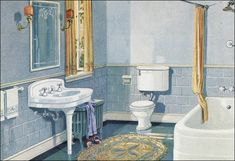 1926 Blue & Gold Scheme Bathroom - radiator bench by the sink - install electric one upstairs?