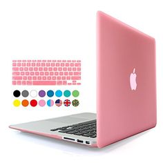 iBenzer - 2 in 1 Soft-Touch Plastic Hard Case Cover & Keyboard Cover for 13 inches Macbook Air 13.3'' (Model: A1369 / A1466), Pink MMA13PK+1