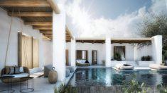 Outdoor lounge at Residence in Mykonos II by Block 722 Architects. Outdoor Lounge, Outdoor Spaces, Outdoor Living, Mykonos, Design Exterior, Modern Patio, Outdoor Garden Furniture, Menorca, Coastal Homes