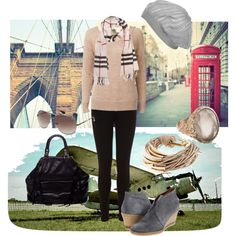 Ooooh, I really love this outfit.  The knitted, slouchy hat, the short grey wedge boots, the scarf!