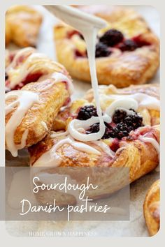 A step by step guide to make sourdough danish pastries that are delicious and are leavened with sourdough starter and butter. Recipe Using Sourdough Starter, Sourdough Recipes, Danish Pastries, Dough Ingredients, Danishes, Flaky Pastry, Egg Wash, Cream Cheese Filling, Pastry Recipes