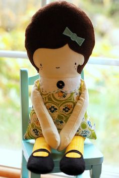 Girl Doll PDF Sewing Pattern by retromama on Etsy, $12.00 @Amy Taylor think we could make these??