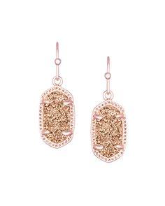 Lee Earrings in Rose Gold Drusy - Kendra Scott Jewelry.
