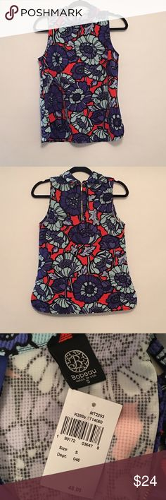 NWT! BOBEAU Retro-Style Top Sz S Get ready for spring! Perfect with jeans, shorts or or a skirt. Brand new with Tag from Nordstrom. This top has only been tried on. Please message me if you have any questions or if you would like any additional information on this. Bobeau Tops
