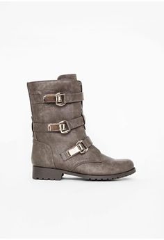 Missguided - Adele Buckle Detail Biker Boots Khaki  #MISSGUIDEDAW14 #MISSGUIDED