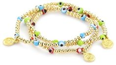 Blee Inara Gold Triple Turquoise-Color, Coral, Lime Eye and Beads Stretchy Bracelet, http://www.amazon.com/dp/B004YLQHVM/ref=cm_sw_r_pi_awdm_Ye7lub06YP89P