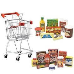 Melissa & Doug Shopping Cart with Wooden Pantry Products and Fridge Food Set:Amazon:Toys & Games