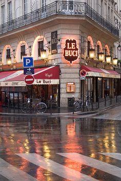 Paris / historic cafe / Left Bank / rain / street / reflections /