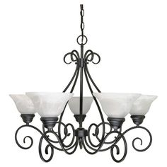 """Scrolling five-light chandelier with alabaster swirl glass shades.  Product: ChandelierConstruction Material: Metal and glassColor: Textured blackAccommodates: (5) 60 Watt A19 incandescent bulbs - not includedDimensions: 21"""" H x 28"""" Diameter"""